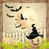 Background for Halloween pumpkin and witch — Stock Vector