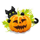 Evil halloween pumpkin and black cat — Stock Vector