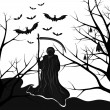 Background for halloween death with a scythe — Stock Vector