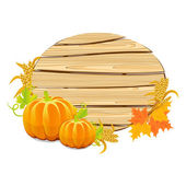 Happy Thanksgiving wooden sign with the harvest — Stock Vector
