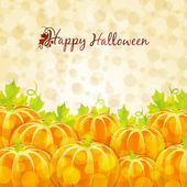 Happy Halloween greeting card with pumpkins — Stock Vector