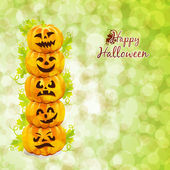 Happy Halloween card with pumpkins — Stock Vector
