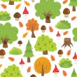 Seamless pattern autumn trees and mushrooms — Stock Vector