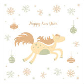 New Year card with a horse — Stock Vector
