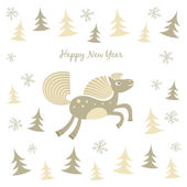 New Year card with a running horse — Stock Vector