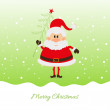 Santa Claus with Christmas tree — Stockvectorbeeld