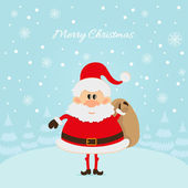 Santa Claus with a bag of gifts — Stock Vector