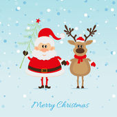 Santa Claus with and Reindeer — Stock Vector
