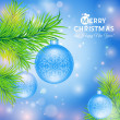 Greeting card with Christmas blue balls — Stock Vector