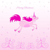 Christmas card with a dreamy horse — Stock Vector
