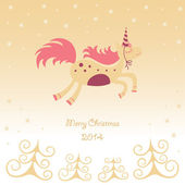 Christmas card with a running horse dreamy — Stock Vector