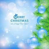Greeting card with Christmas tree and blue balls — Stock Vector