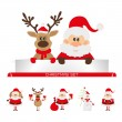 Santa Claus and reindeer with a place for text greeting card — Stock Vector #35404797