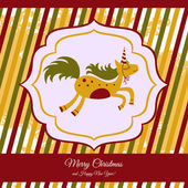 Horse card for new year and Christmas — Stock Vector