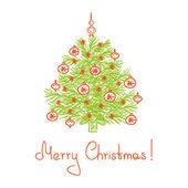 Feliz navidad tarjeta con árbol de navidad — Vector de stock