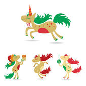 Horses set for the new year and christmas — Stock Vector