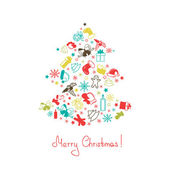 Merry Christmas card with Christmas tree — Stock Vector