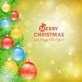 Елка с шариками Рождественская открытка — Cтоковый вектор
