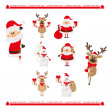 Christmas set of Santa,  raindeer and snowman — Imagen vectorial