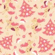 Seamless pattern cute horse for Christmas — Imagen vectorial