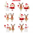 Christmas set of Santa,  raindeer and snowman — Stock Vector