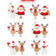 Stock Vector: Christmas set of Santa, raindeer and snowman
