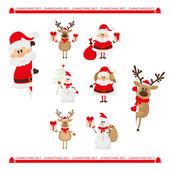 Christmas set of Santa, raindeer and snowman — Stock Vector