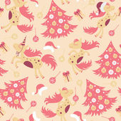 Seamless pattern cute horse for Christmas — Stock Vector