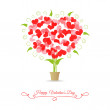 Card happy valentine tree of hearts — Stock Vector