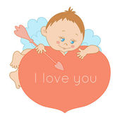 I love you, card Valentine's Day with a cute cupid — Stock Vector