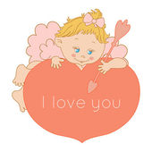 I love you, card Valentine's Day with Cupid — Stock Vector