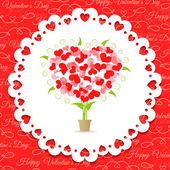 Postcard Happy Valentine's abstract tree of hearts — Stockvector