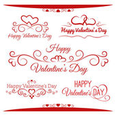 Set of calligraphic greetings for Valentines day — Stock vektor