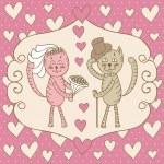Card wedding day love cats — Stock Vector
