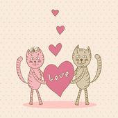 Love card with cat — Vecteur