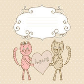 Card with lovers cats — Stock Vector