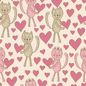 Cats with hearts seamless pattern — Stok Vektör