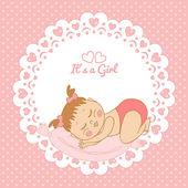 女の子の誕生日とグリーティング カード — ストックベクタ
