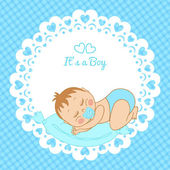 Greeting card with the birth of a boy — Stock Vector