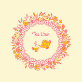 Tea time. Set of sweets, tea utensils, coffee — Stock Vector