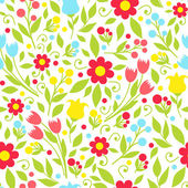 Seamless pattern with spring flowers — Stock Vector