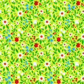 Seamless pattern bright spring flowers — Stock Vector