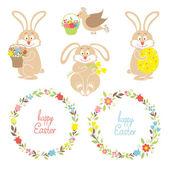 Set for Easter, Easter bunnies, flowers, birds — Stock Vector
