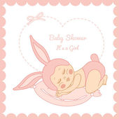 Card with the birth of a child girl in bunny costume — Stock vektor