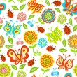 Seamless pattern of spring flowers, butterflies, leaves — Stock Vector
