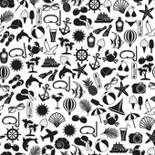 Seamless pattern summer icons — Stock Vector