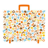 Travel bag consisting of summer icons — Stock Vector