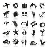 Summer icons in black and white — Wektor stockowy