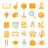 Set of school icons orange — Stockvektor