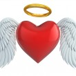 Angel heart with wings and golden halo 3d illustration — Stock Photo #15878795